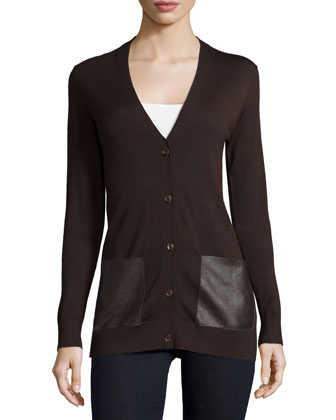 Button-Front Cardigan W/Leather Pockets, Chocolate