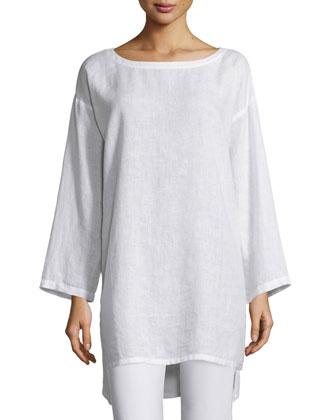 Organic Linen Long Tunic, Plus Size