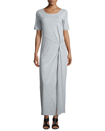 Short-Sleeve Ruched Jersey Maxi Dress, Women's
