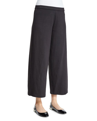 Easy Wide-Leg Ankle Pants, Black, Women's