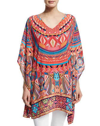 Camille V-Neck Printed Tunic, Orange Geo, Women's