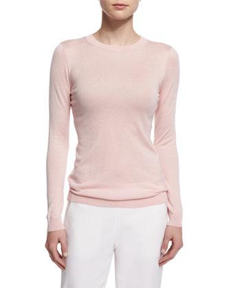 Long-Sleeve Silk-Cashmere Knit Top