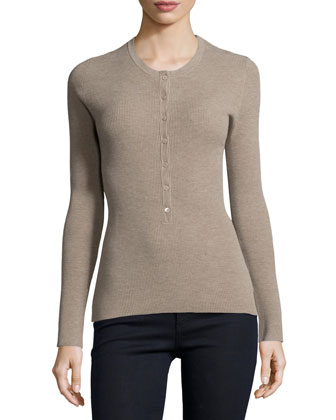 Long-Sleeve Ribbed Henley Top, Bison
