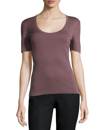 Short-Sleeve Cashmere Top, Rose