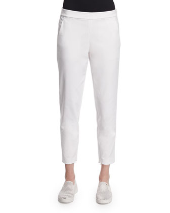 Crosby Zipper-Cuff Ankle Pants, Blanc