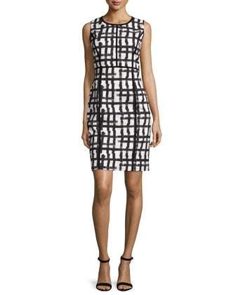 Mariana Grid-Print Sheath Dress, White/Multi