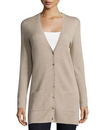 Cashmere Button-Front Cardigan, Bison