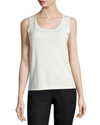 Scoop-Neck Cotton-Blend Tank