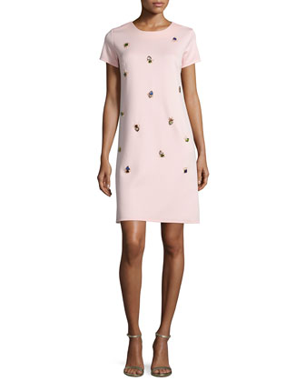 Short-Sleeve Embellished Sheath Dress