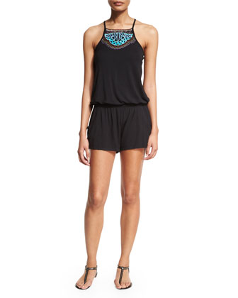Mantra Embroidered Short Romper Coverup