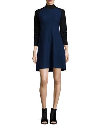 Francine Long-Sleeve Two-Tone Sweater Dress, Navy/Black/Combo