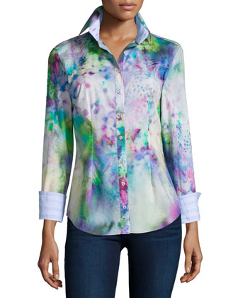 Katrina's Koi Pond Button-Front Shirt, Blue/White/Purple, Women's