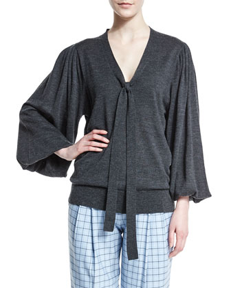 Long-Sleeve V-Neck Peasant Blouse, Charcoal