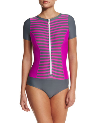 Barre To Beach Short-Sleeve One-Piece Swimsuit