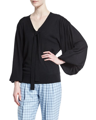 Long-Sleeve V-Neck Peasant Blouse, Black