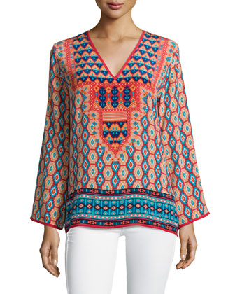 Monisha Border-Detail Silk Tunic, Red Ikat, Women's