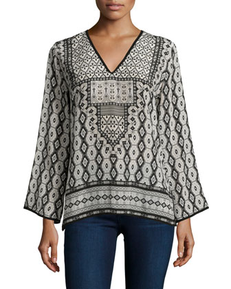 Monisha Border-Detail Silk Tunic, Black Ikat, Women's