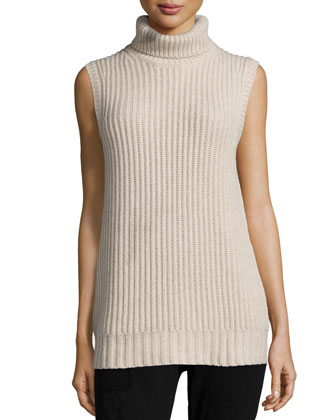 Sleeveless Turtleneck Cashmere Sweater, Oatmeal
