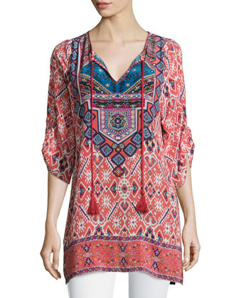 Sasha Silk Border-Detail Tunic, Women's