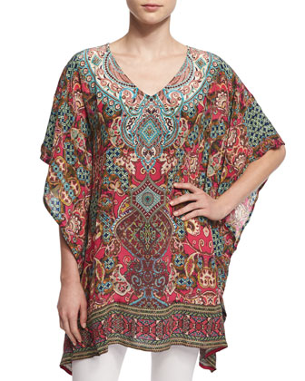 Camille V-Neck Printed Tunic, Gems, Women's