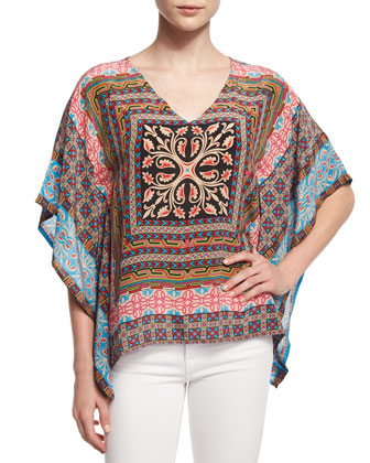 Candice V-Neck Printed Short Tunic, Women's