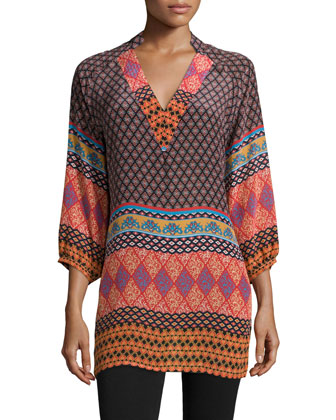 Nisha Silk Border-Detail Tunic, Women's