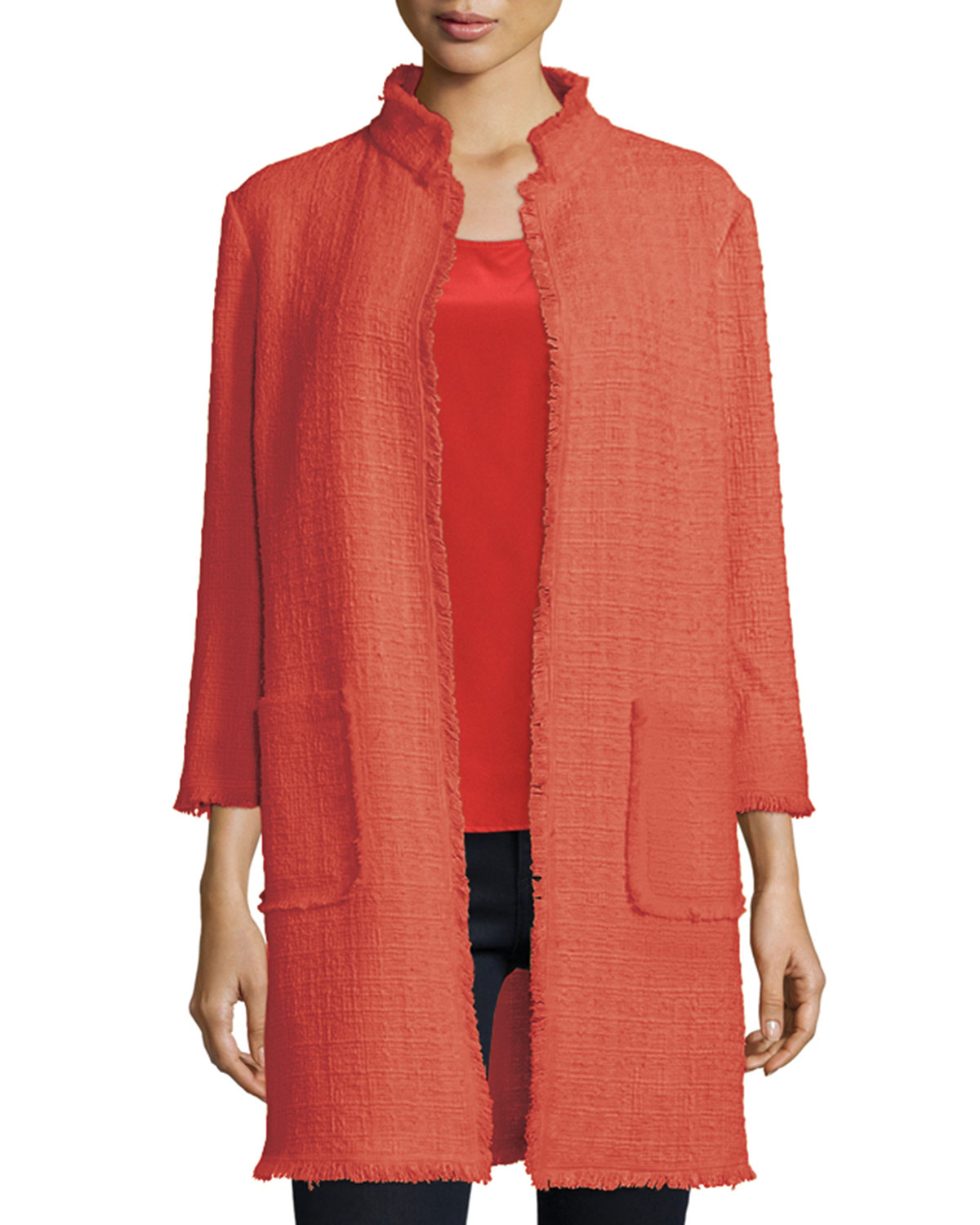 3/4-Sleeve Tweed Topper Coat, Coral, Size: LARGE/12-14 - Neiman Marcus