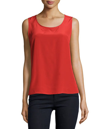Sleeveless Silk Tank, Coral