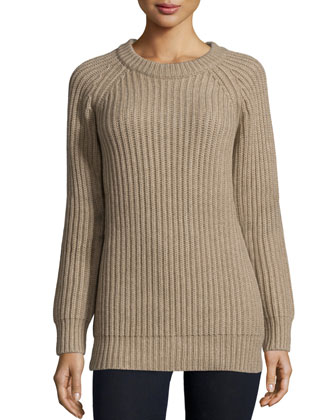 Raglan-Sleeve Jewel-Neck Cashmere Sweater, Taupe