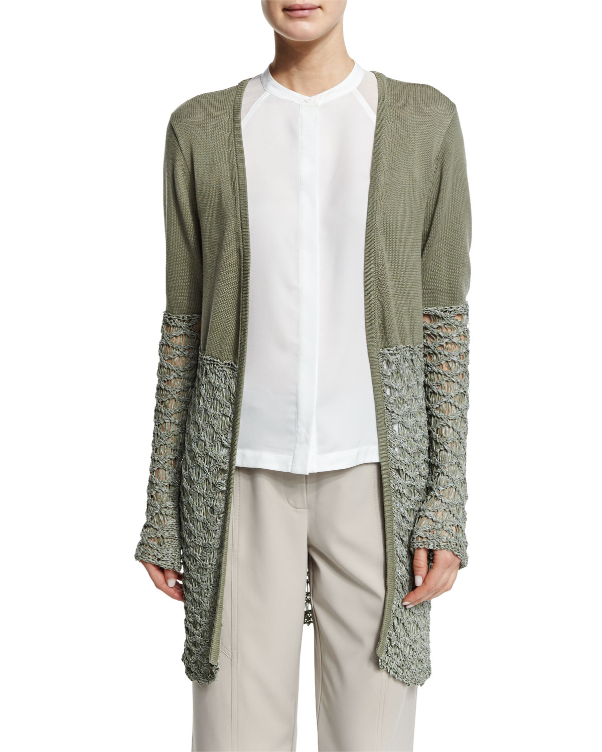Textured-Block Duster Cardigan, Size: XL/16, Green - Neiman Marcus