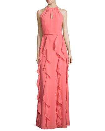 Farall Sleeveless Ruffled-Skirt Gown, Passionata