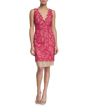 Sleeveless Lace-Overlay Sheath Dress, Pink Clash