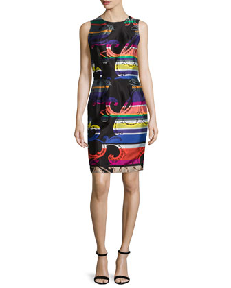 Sleeveless Printed Sheath Dress, Multi Colors