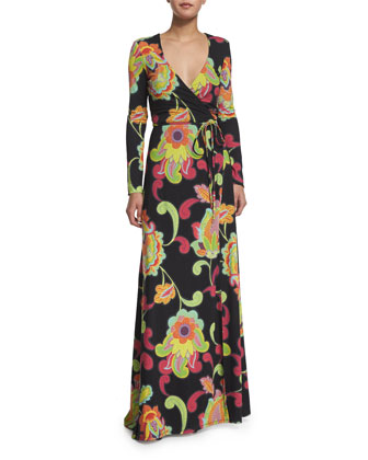 Long-Sleeve Wrap Maxi Dress, Multi Colors