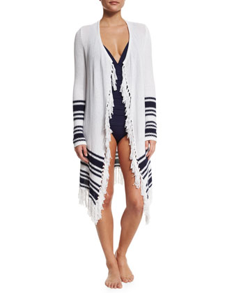 Open Cardigan Coverup with Tassel-Trim