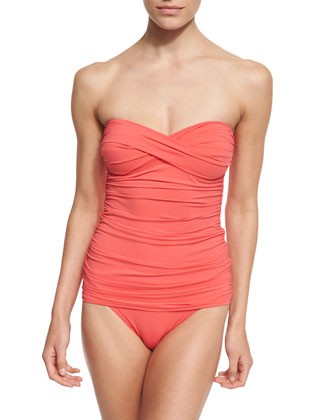 Shirred Twist-Front One-Piece Swimsuit, Black