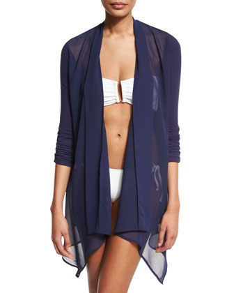 Chiffon-Trim Open-Front Cardigan Coverup, Mare