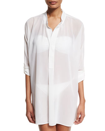 Sheer Mandarin-Collar Coverup Tunic