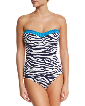 Zebra-Print One-Piece Bandeau Swimsuit, Mare/White