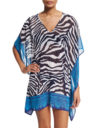 Engineered Zebra-Print Coverup Tunic, Mare/White