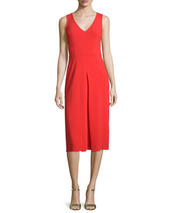 Sleeveless V-Neck Sheath Dress with Inverted Pleat