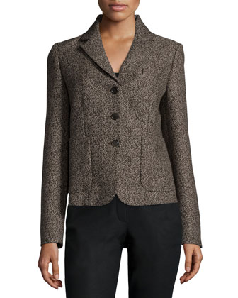 Button-Front Jacket W/Pockets, Chocolate Multi