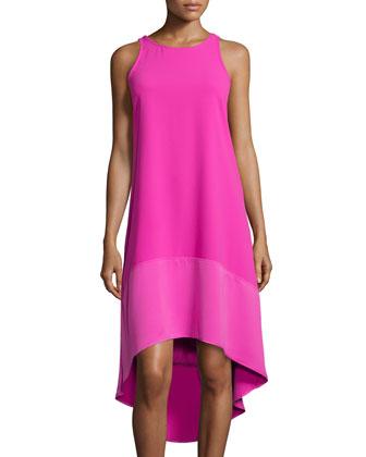 Sleeveless High-Low Dress, Brilliant Fuchsia