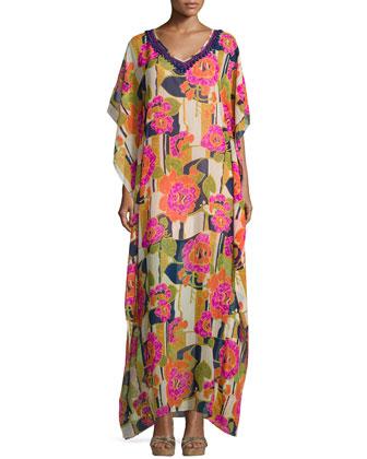 Beaded-Trim Floral-Print Caftan