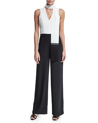 Sleeveless Jumpsuit with Scarf Detail