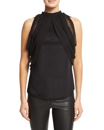 Angela Cold-Shoulder Top, Black