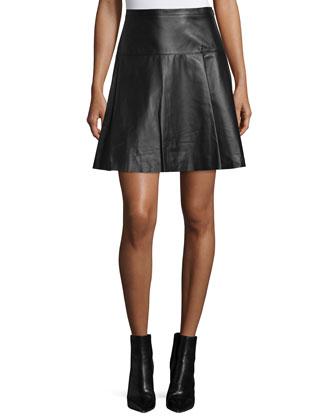 Flared Leather Mini Skirt, Black