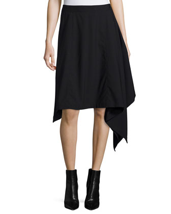 Asymmetric-Hem Blanket Skirt, Black