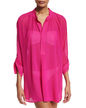 Sheer Mandarin-Collar Tunic Coverup, Razzberry