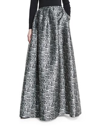 Printed Ball Skirt W/Pockets, Black/White